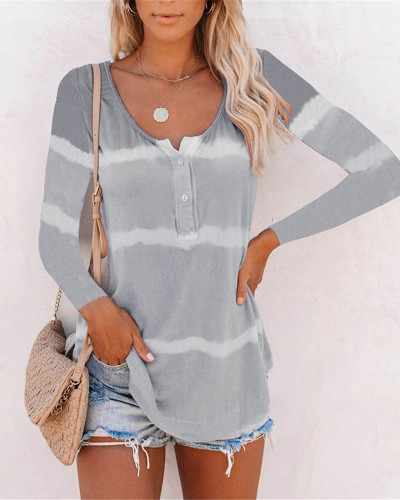 Gray Tie-dye printed buttoned long-sleeved T-shirt