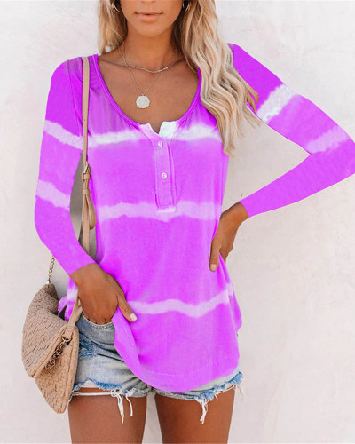 Violet Tie-dye printed buttoned long-sleeved T-shirt
