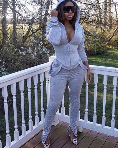 Gray Two-piece casual solid color pleated sweater suit