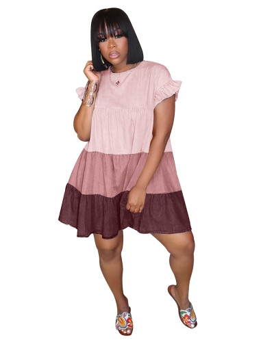 Pink Pleated gradient stitching single button dress