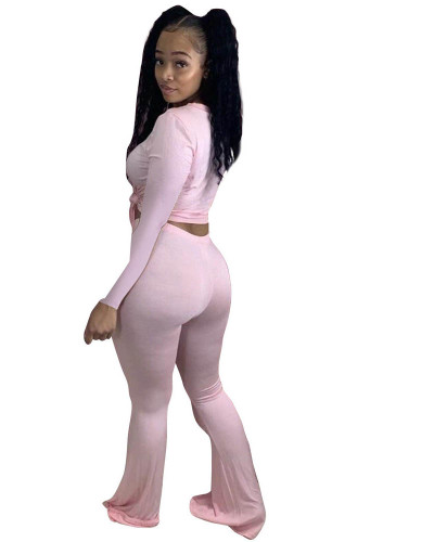 Pink Solid color skinny long-sleeved flared pants suit