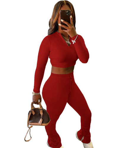 Red Sexy solid color cropped pleated pants sports suit