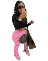 Pink Sweatpants with ripped solid color sweatshirt fabric with folds and slits