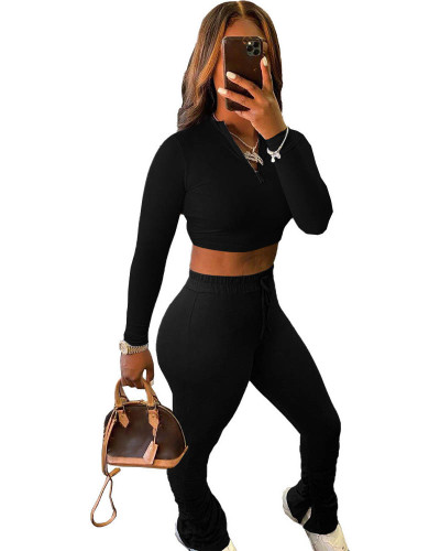 Black Sexy solid color cropped pleated pants sports suit