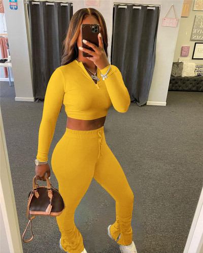 Yellow Sexy solid color cropped pleated pants sports suit