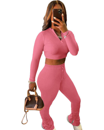 Pink Sexy solid color cropped pleated pants sports suit