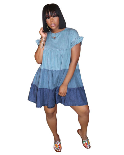 Blue Pleated gradient stitching single button dress
