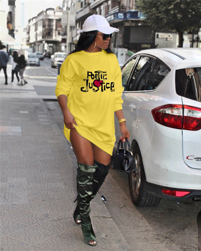 Yellow Trendy letter print fashion sweater dress dress