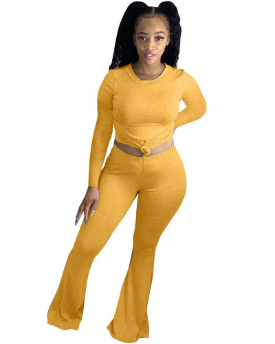 Yellow Solid color skinny long-sleeved flared pants suit