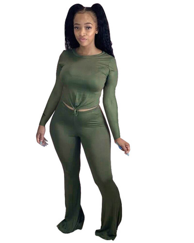 Green  Solid color skinny long-sleeved flared pants suit