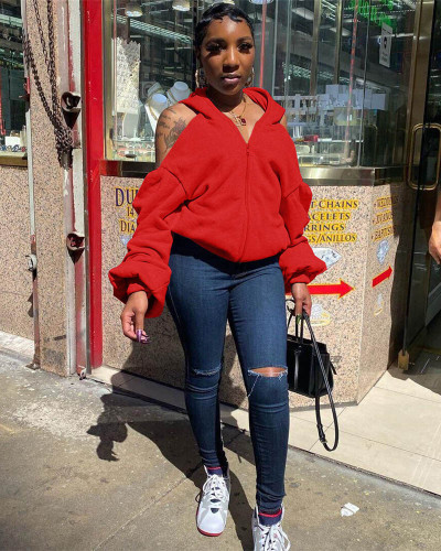 Red Sexy personality halter sweater hooded jacket
