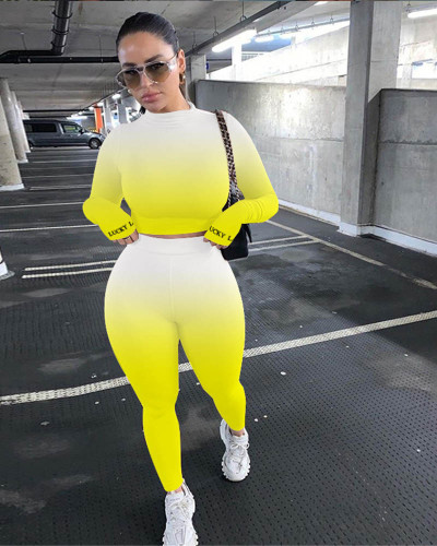 Yellow Sexy cute gradient two-piece suit