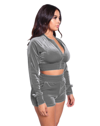 Gray Hot sale fashion leisure sports suit two-piece suit