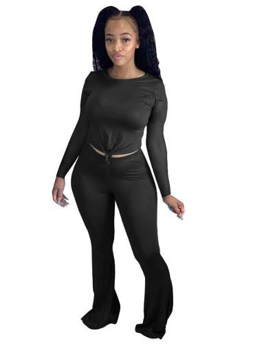 Black Solid color skinny long-sleeved flared pants suit