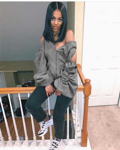 Gray Sexy personality halter sweater hooded jacket