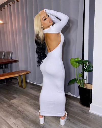 White Sexy backless long dress