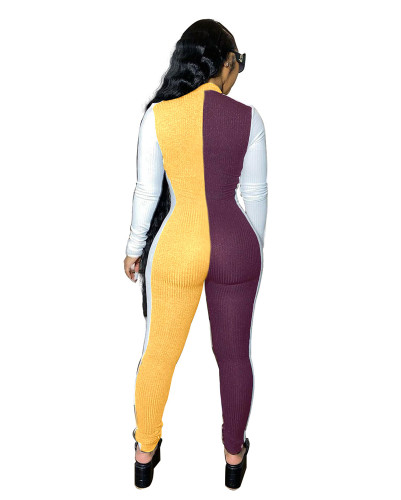 Yellow Sexy slim-fit pack hips color matching pit strip tight-fitting jumpsuit