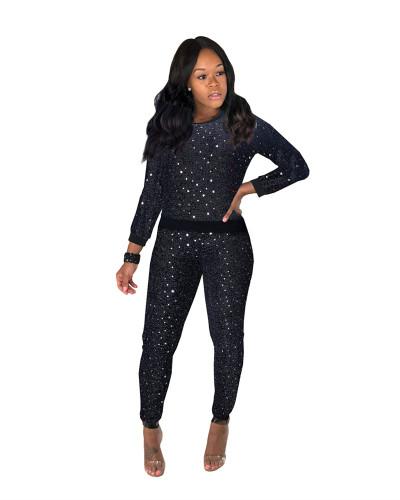 Black Sexy sequin long sleeve multicolor suit