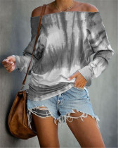Gray Long Sleeve Fashion Off Shoulder Tie Dye Printed Ladies Top T-shirt