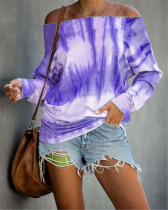 Violet Long Sleeve Fashion Off Shoulder Tie Dye Printed Ladies Top T-shirt