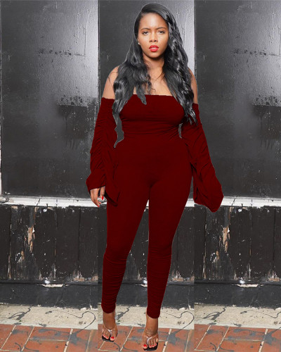 Red Pleated one-shoulder jumpsuit