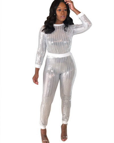 White Sexy sequin long sleeve multicolor suit