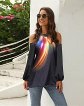 Black Off Shoulder Print Lantern Sleeve T-shirt Top