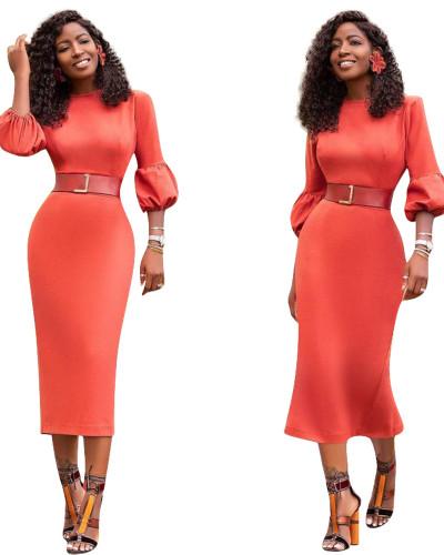 Orange Sexy slim dress