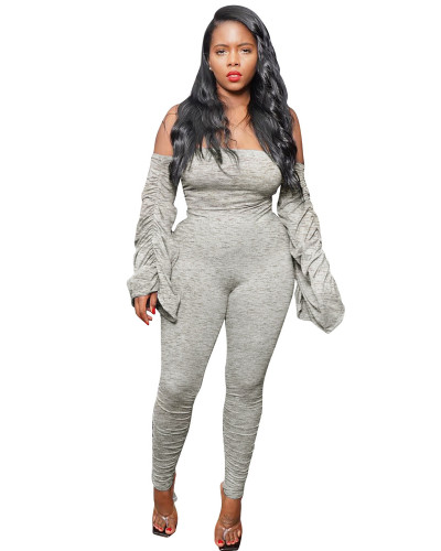 Gray Pleated one-shoulder jumpsuit