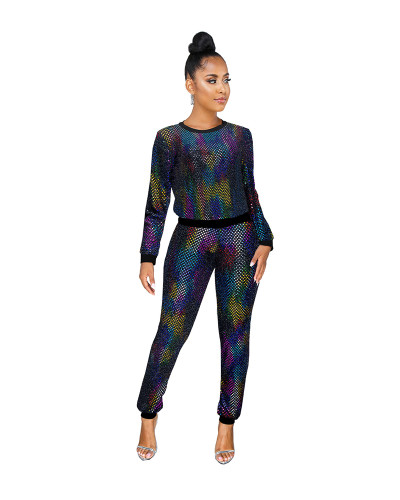 Color Sexy sequin long sleeve multicolor suit