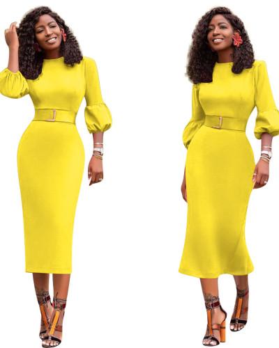 Yellow Sexy slim dress