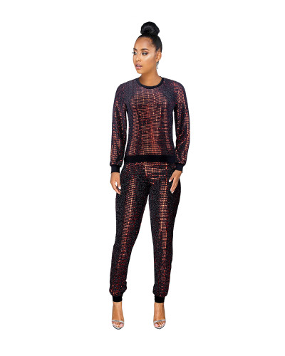 Red Sexy sequin long sleeve multicolor suit
