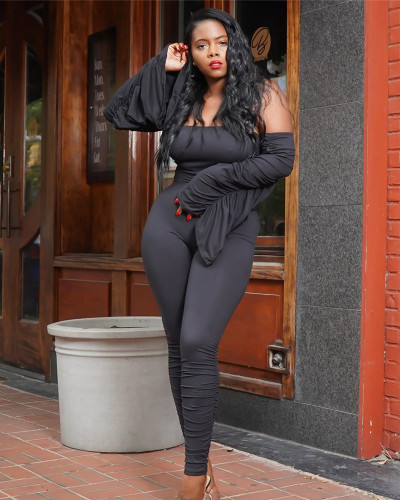 Black Pleated one-shoulder jumpsuit