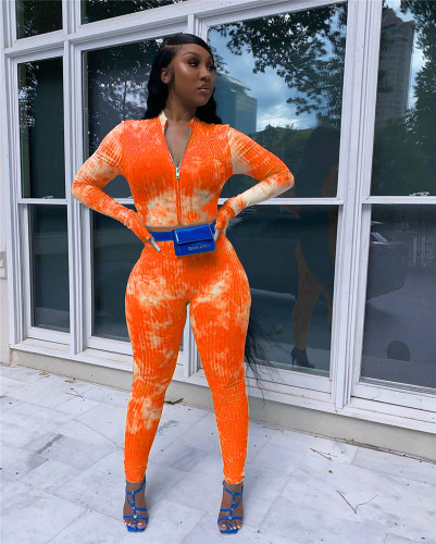 Orange Sexy cute tie-dye long sleeve two-piece with finger sets