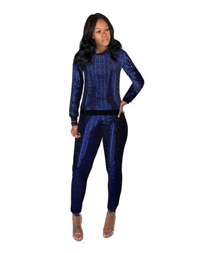Blue Sexy sequin long sleeve multicolor suit