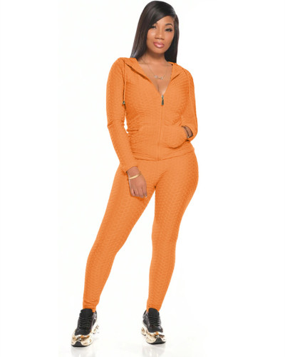 Orange Multicolor long sleeve sports suit