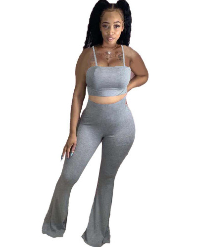 Gray Sexy two-piece sling wrap chest casual flared pants