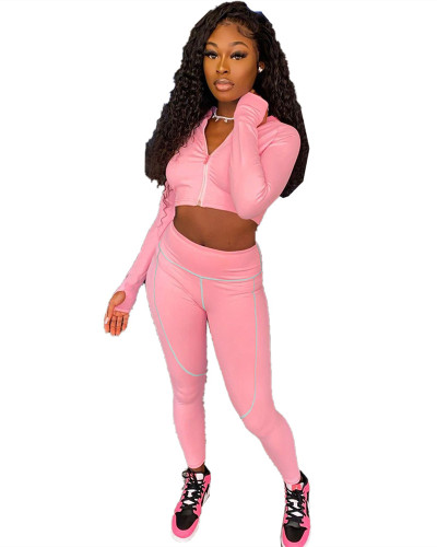 Pink Two-piece leisure trousers with zipper top