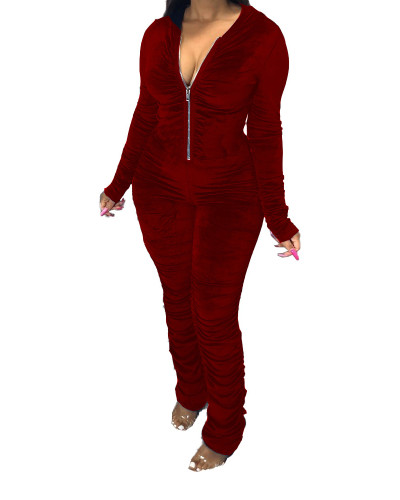 Red Fashion casual pleated jumpsuit