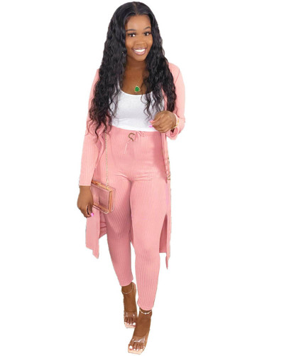 Pink Two-piece set of pure color casual pit strip fabric