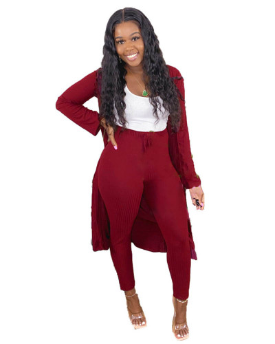 Claret Two-piece set of pure color casual pit strip fabric