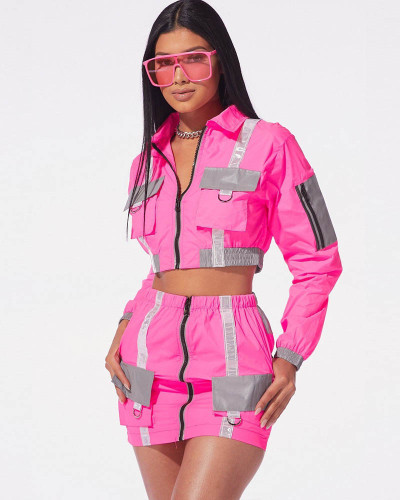 Pink Reflective fabric organ bag stitching leisure two-piece suit