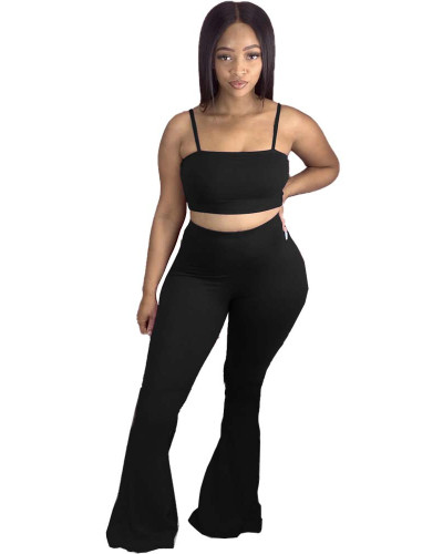 Black Sexy two-piece sling wrap chest casual flared pants