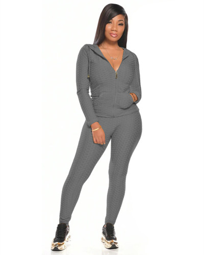Gray Multicolor long sleeve sports suit