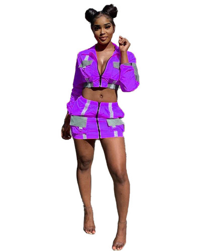 Violet Reflective fabric organ bag stitching leisure two-piece suit