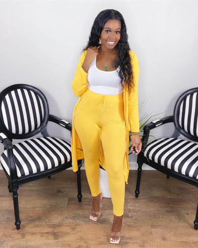 Yellow Two-piece set of pure color casual pit strip fabric