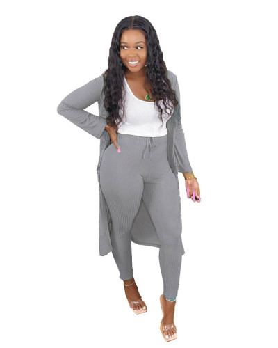 Gray Two-piece set of pure color casual pit strip fabric