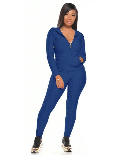Blue Multicolor long sleeve sports suit