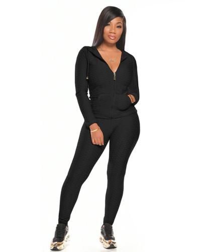 Black Multicolor long sleeve sports suit