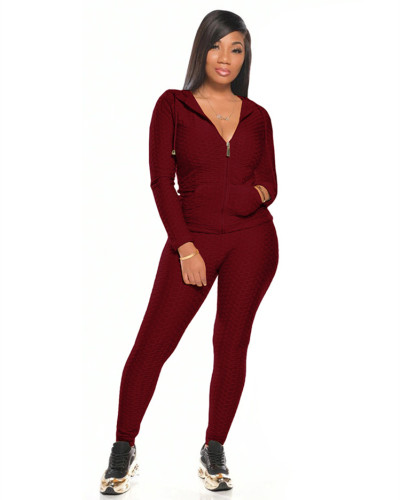 Red Multicolor long sleeve sports suit